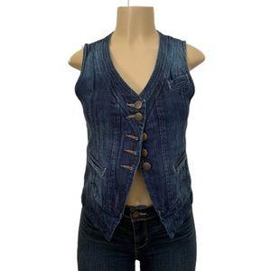 CAbi Jeans Denim Partridge Jean Vest Size X Small